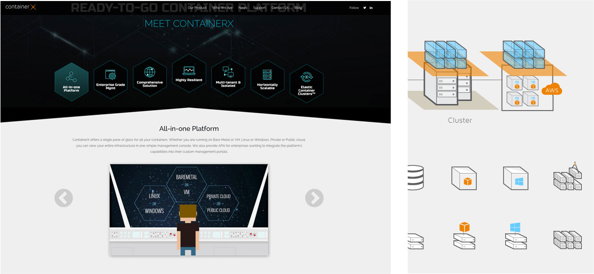 container x homepage design