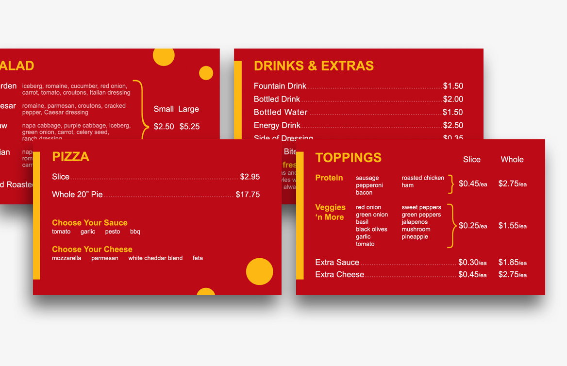 slice menu design