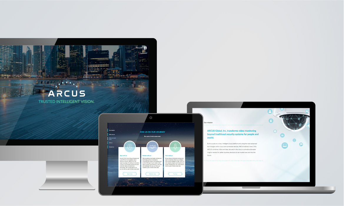 arcus website on desktop, laptop, and tablet