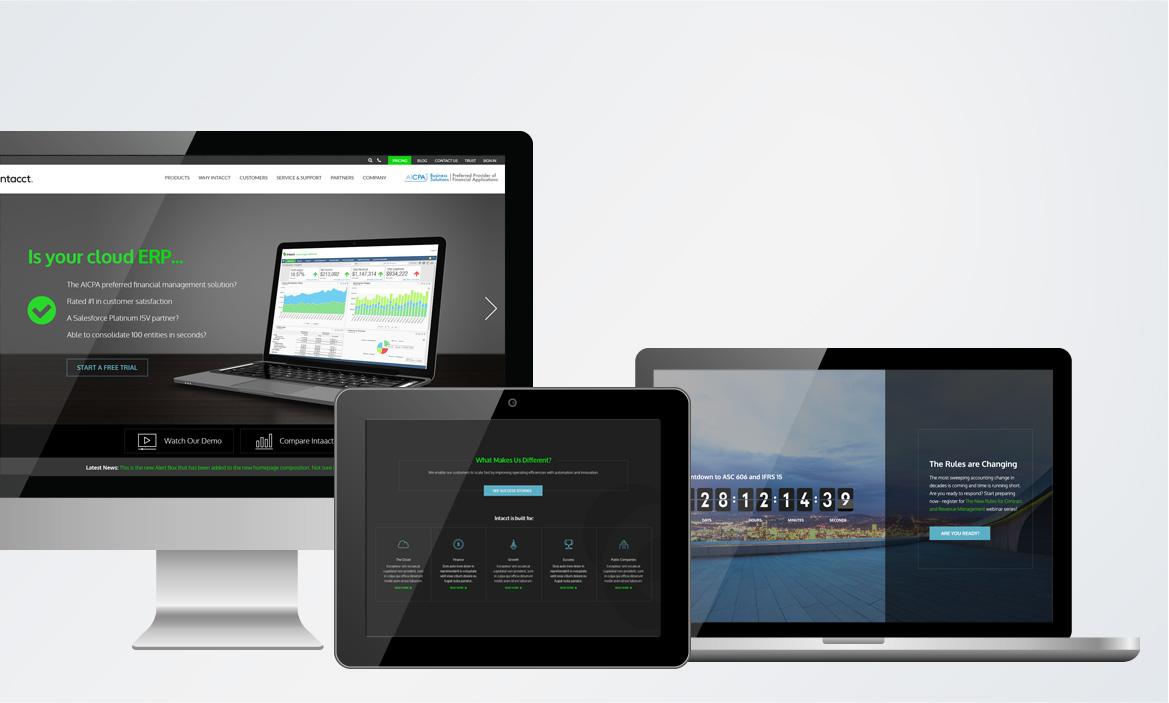sage intacct website on desktop, laptop, and tablet